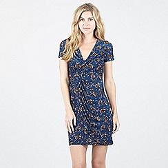 Izabel London - Blue Cap Sleeve Floral Wrap Dress