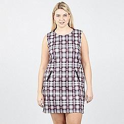 Izabel London Curve - Multicoloured Plus Size Checked Shift Dress
