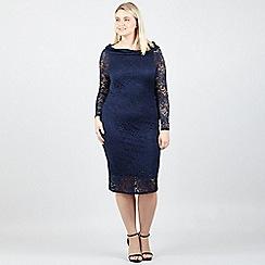 Izabel London Curve - Navy Bardot Lace Wiggle Dress