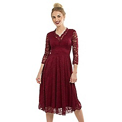 Feverfish - Maroon Lace Scallop V Flared Dress
