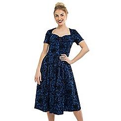 Feverfish - Blue Sweetheart Neck Vintage Print Dress