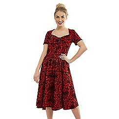 Feverfish - Red Sweetheart Neck Vintage Print Dress
