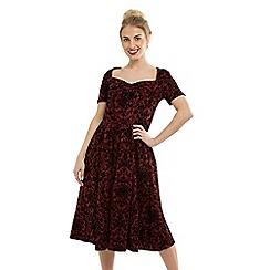 Feverfish - Maroon Sweetheart Neck Vintage Print Dress
