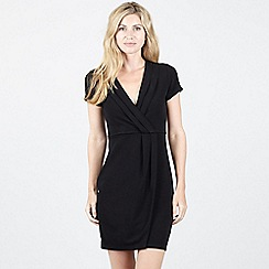 Izabel London - Black Wrap Dress with Sleeves