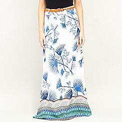 Izabel London - Multi Border Print Belted Maxi Skirt