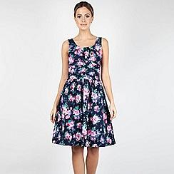 Voodoo Vixen - Navy Ethal Navy Floral Summer Dress
