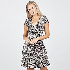 Izabel London - Beige Leopard Wrap Dress