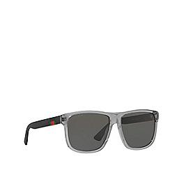 Gucci - Grey GG0010S rectangle sunglasses