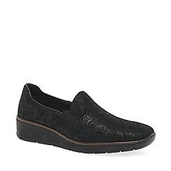 Rieker - Near black leather 'Melgar' low heeled slip on shoes