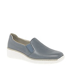 Rieker - Blue leather 'Melgar' low heeled slip on shoes