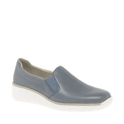 Dark grey leather 'Melgar' low heeled slip on shoes