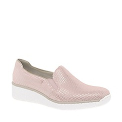 Rieker - Rose suede 'Melgar' low heeled slip on shoes