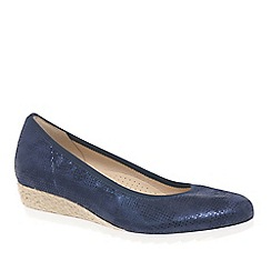 Gabor - Navy leather 'Epworth' mid heeled wedge pumps