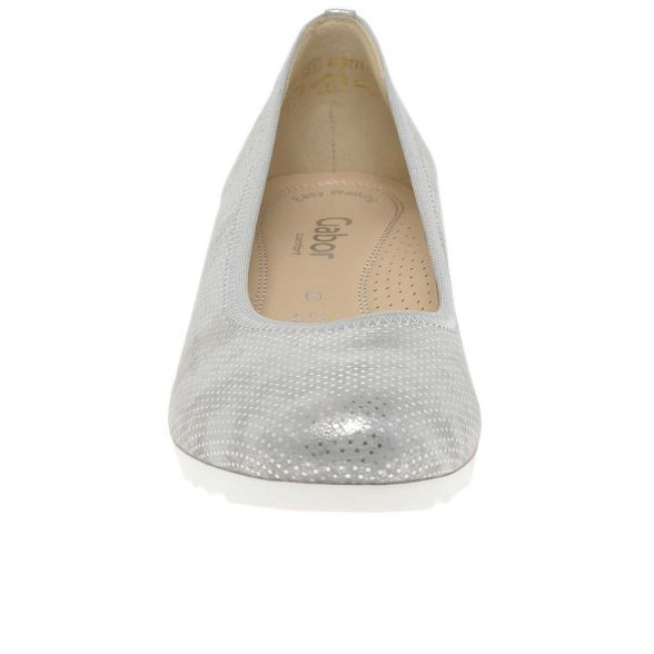 heeled pumps Silver mid leather Gabor 'epworth' wedge IAnqSqUdY