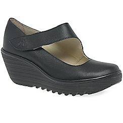 Fly London - Near black leather 'yasi' high wedge heel casual shoes