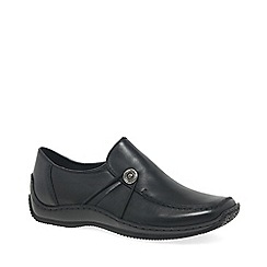 Rieker - Black Leather 'Donna' Womens Flat Casual Shoes