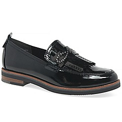 Marco Tozzi - Black patent 'florina' fringe loafers