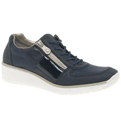 Dark blue 'Camilla' wedge heeled casual sports shoes