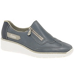 Rieker - Blue leather 'Host' low wedge heeled shoes