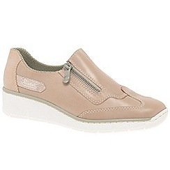 Rieker - Rose leather 'Host' low wedge heeled shoes