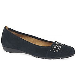 Gabor - Dark blue suede 'Electra' flat pumps