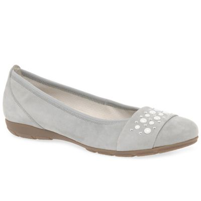 Gabor - Light grey suede 'Electra' flat pumps
