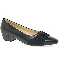 Gabor - Black leather 'Fifi' low heeled court shoes