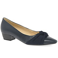 Gabor - Navy leather 'Fifi' low heeled court shoes