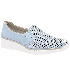 Rieker - Pale blue nubuck 'Punch' low wedge heeled shoes