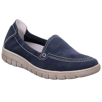 Josef Seibel - Dark blue nubuck 'Steffi 57' flat slip on shoes