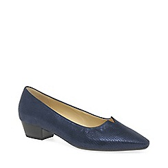 Gabor - Dark blue leather 'Acton' low heeled court shoes