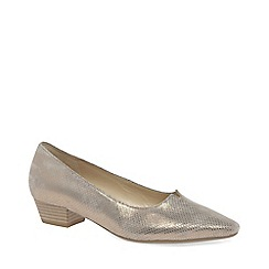 Gabor - Gold leather 'Acton' low heeled court shoes
