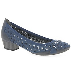 Marco Tozzi - Navy 'Angelico' mid heeled court shoes