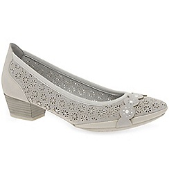 Marco Tozzi - Light grey 'Angelico' mid heeled court shoes