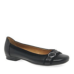 Gabor - Black leather 'Michelle' flat casual pumps