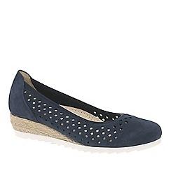 Gabor - Blue Nubuck 'Evelyn' Low Wedge Heel Shoes