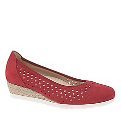 Gabor - Red Nubuck 'Evelyn' Low Wedge Heel Shoes