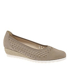 Gabor - Beige Nubuck 'Evelyn' Low Wedge Heel Shoes