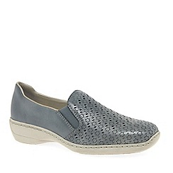 Rieker - Blue Leather 'Belle' Low Heeled Casual Shoes