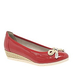 Marco Tozzi - Red 'Jubilee' Low Wedge Heel Espadrille Shoes