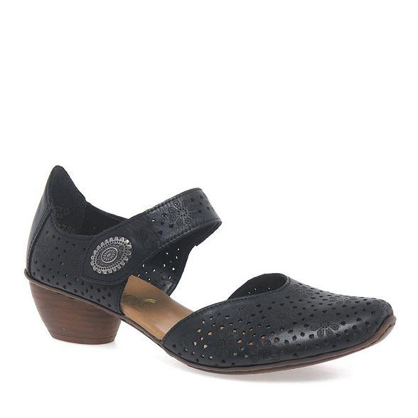 'Pip' shoes open womens Black court Rieker 5qxYvaxw