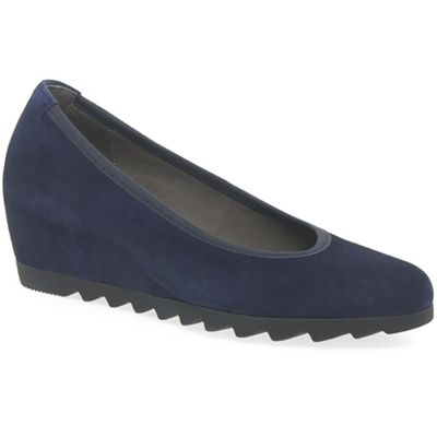 Gabor - Dark blue suede 'Request' wedge shoes