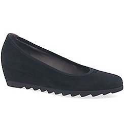 Gabor - Blue suede 'Request' womens mid heeled wedge shoes