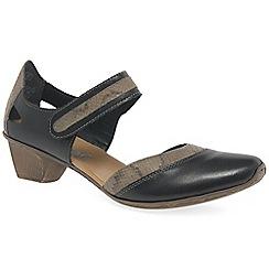Rieker - Black leather 'Taint' open court shoes