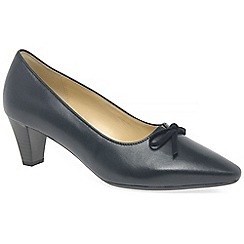 Gabor - Navy leather 'Pearl' mid heel court shoes
