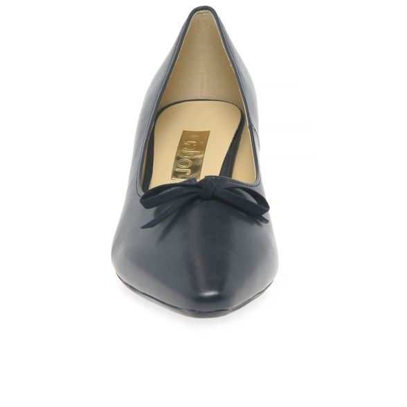 leather Navy shoes 'Pearl' Gabor court heel mid 4CHwqn1xA1