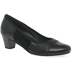 Gabor - Black leather 'Symbol' mid heeled court shoes