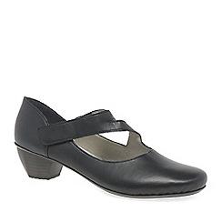 Rieker - Black leather 'Lugano' mid heeled court shoes