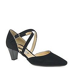 Gabor - Black suede 'callow' mid heeled court shoes
