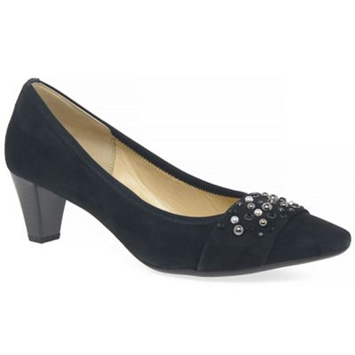 Gabor - Navy suede 'Guide' mid heeled court shoes